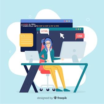 Vector design plano sorrindo programador feminino