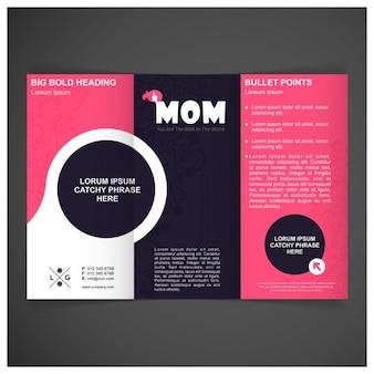 Vector dia das mães modelo com três dobras brochura