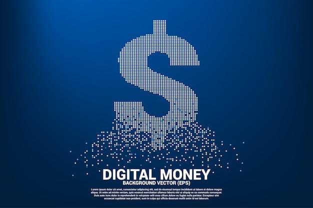 Vector dinheiro dólar ícone de voar pixel quadrado.