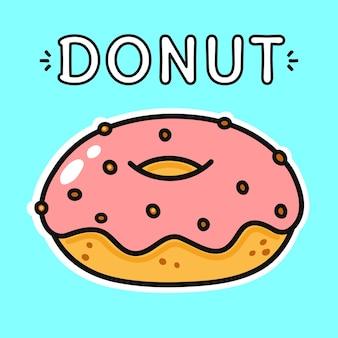 Vector donut engraçado desenhado à mão estilo doodle personagem de desenho animado ilustração ícone design