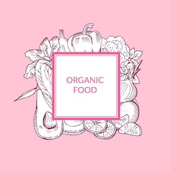 Vector doodle cketched frutas e legumes vegan, emblema de comida saudável isolado em fundo colorido
