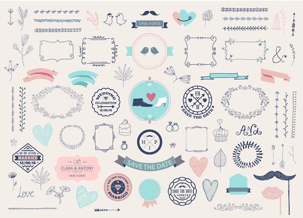 Vector doodle desenhado à mão ilustração da coleção de amor ícones esboçados grande conjunto para o dia dos namorados