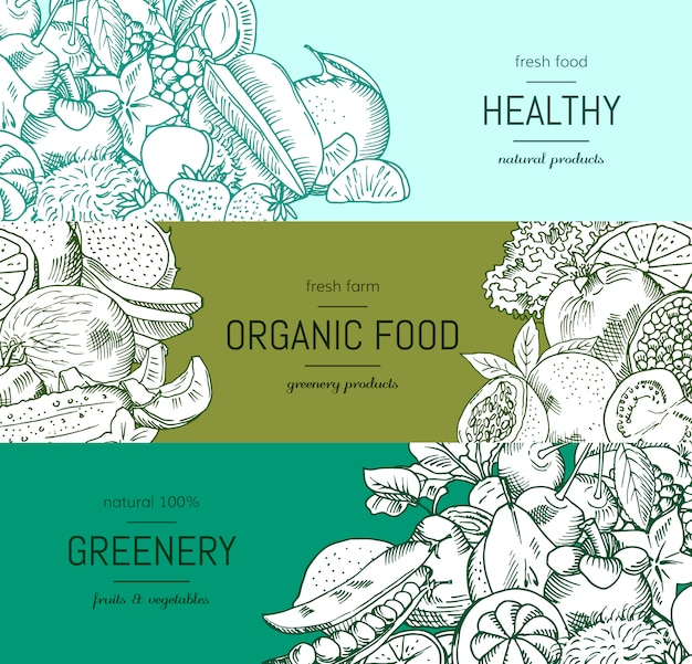 Vector doodle handdrawn legumes e frutas vegan, comida saudável banner conjunto