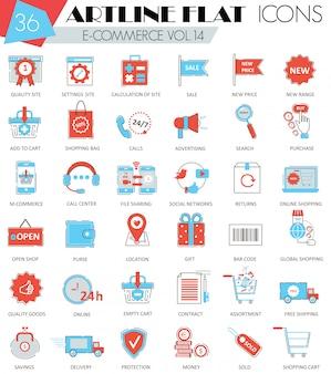 Vector e-commerce ultra moderno contorno artline linha plana ícones