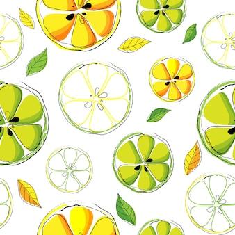 Vector e ilustração sem costura padrão de citrinos
