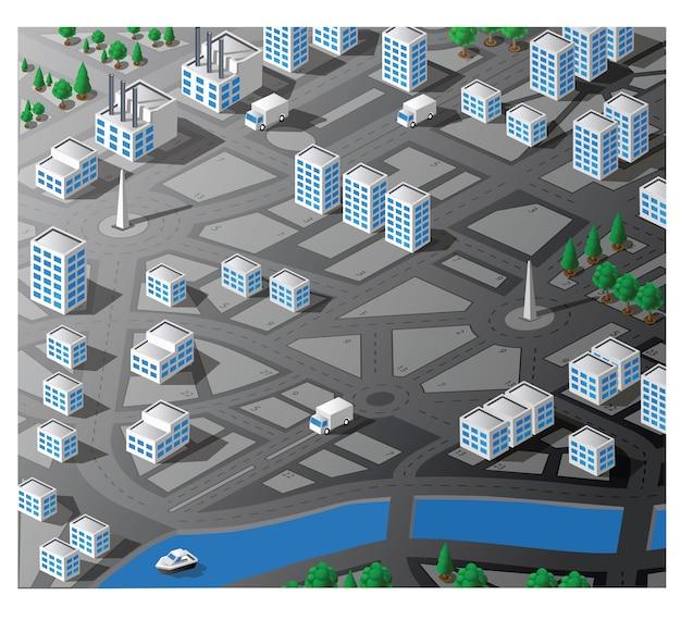 Vector é um mapa isométrico da área da cidade