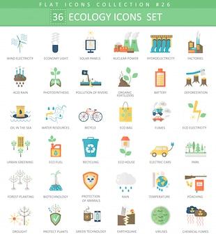 Vector ecologia cor plana ícone conjunto