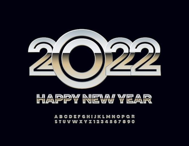 Vector elegante cartão de felicitações de feliz ano novo 2022 fonte de prata criativo letras e números