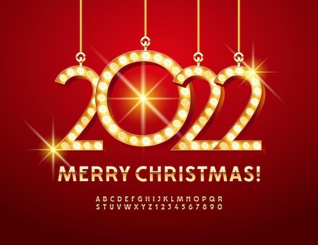 Vector elegante cartão de felicitações feliz natal 2022 golden font luxo letras e números