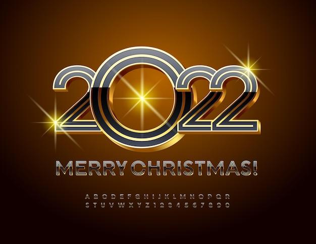 Vector elite cartão de felicitações feliz natal 2022 conjunto de letras e números do alfabeto 3d de luxo