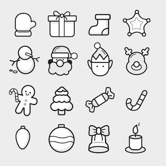 Vector em tons de cinza e preto conjunto de ícones de natal