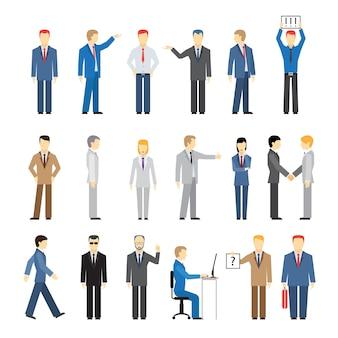Vector empresários em diferentes poses isolados