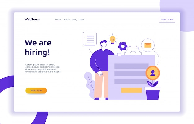 Vector equipe e banner de página da web de estratégia de negócios