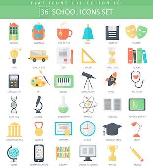 Vector escola cor plana conjunto de ícones. design de estilo elegante.