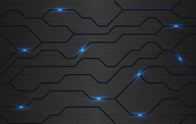 Vector escovado fundo de metal com linhas de energia