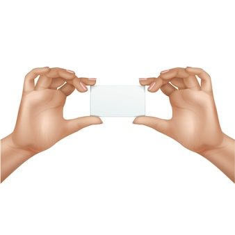 Vector feminino mãos segurando um cartão em branco, isolado no fundo branco