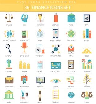 Vector finanças cor ícone plano conjunto.