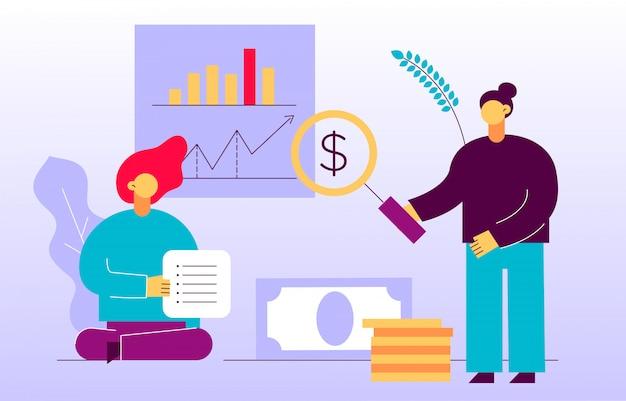 Vector finanças e estratégia de negócios web banner design