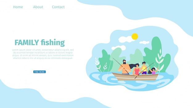 Vector flat banner ilustração família pesca.
