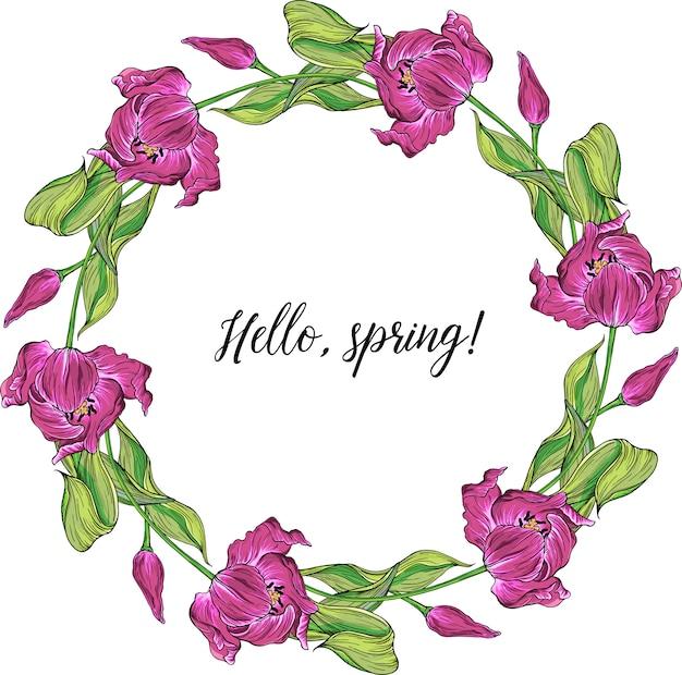 Vector floral colorido primavera rodada quadro com flores de tulipa