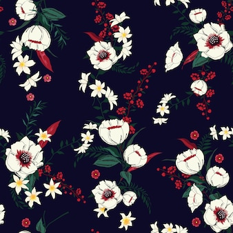 Vector Floral padrão de flores Tropical botânico