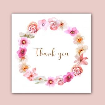 Vector flores linda grinalda. cartão de agradecimento