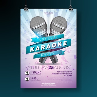 Vector flyer para um tema de karaoke party com microfones
