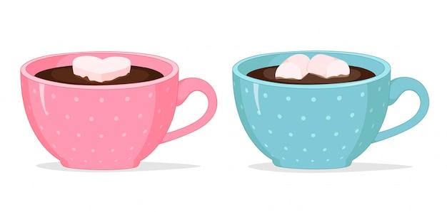 Vector fofo rosa e azuis xícaras de café em branco