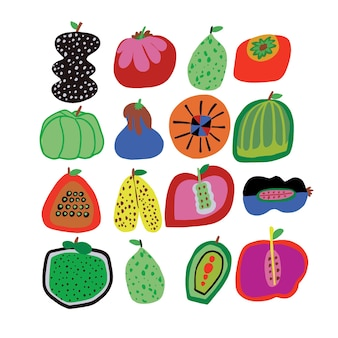 Vector fofos handdrawn vegetais e frutas ilustração recurso gráfico arte digital