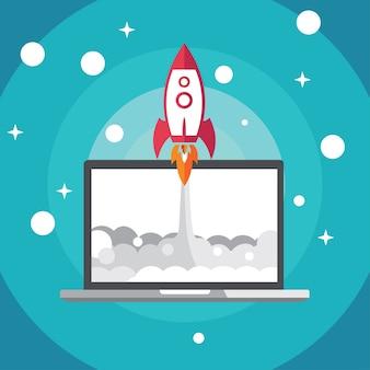 Vector foguete lançamento design plano para o conceito