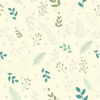 Vector folhas padrão em estilo doodles