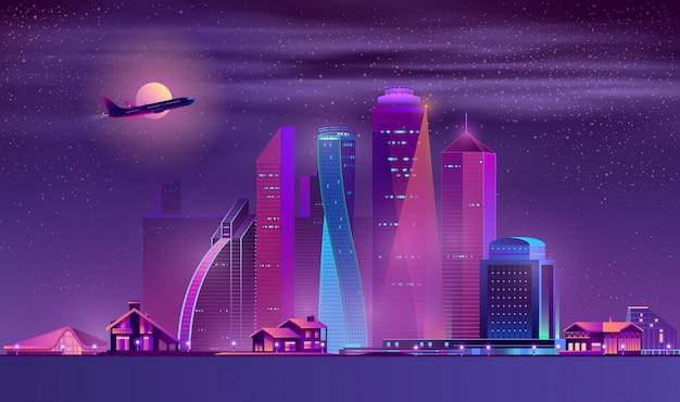 Vector fundo de néon megapolis com edifícios, casas