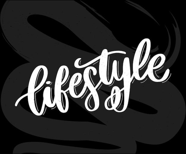 Vector fundo estilo de vida saudável alimentos cartaz ou banner com frutas de mão desenhada e letras texto estilo de vida saudável no pano de fundo verde.