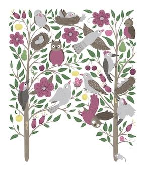 Vector fundo ornamentado com lindas corujas da floresta cucos, cena engraçada da floresta com pássaros