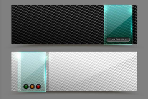 Vector fundo preto e branco de fibra de carbono banner web horizontal de tecnologia futurista com elemento de placa de vidro quadrado transparente verde. ilustração de desenho industrial