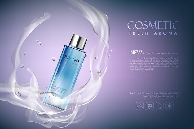 Vector garrafa aroma fresco cosméticos mock up