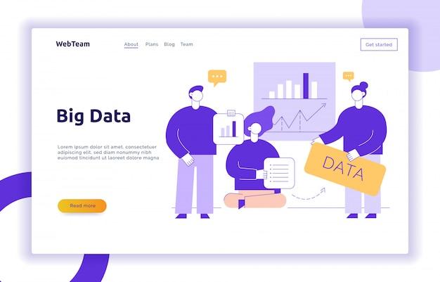 Vector grande conceito de banner de página da web de dados