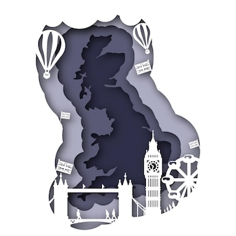 Vector great britan no estilo paper art
