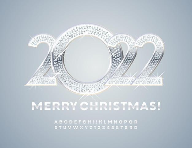 Vector greeting card feliz natal 2022 decoração brilhante, letras e números do alfabeto de prata