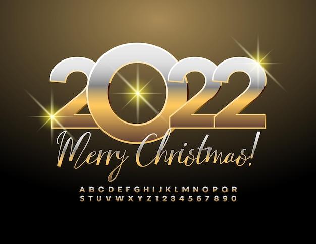 Vector greeting card feliz natal 2022 metal dourado fonte premium, letras e números do alfabeto