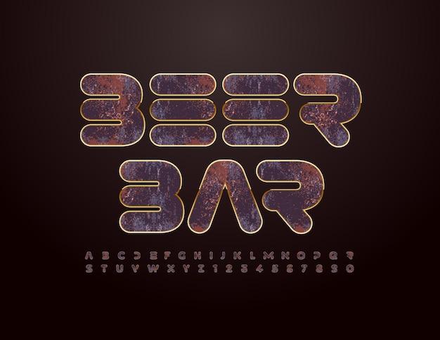 Vector grungy banner beer bar enferrujado cromo fonte estilo vintage conjunto de letras e números do alfabeto