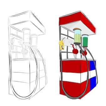 Vector hand draw sketch, mini posto de gasolina da indonésia ou geralmente chamado de pertamini, isolado no branco