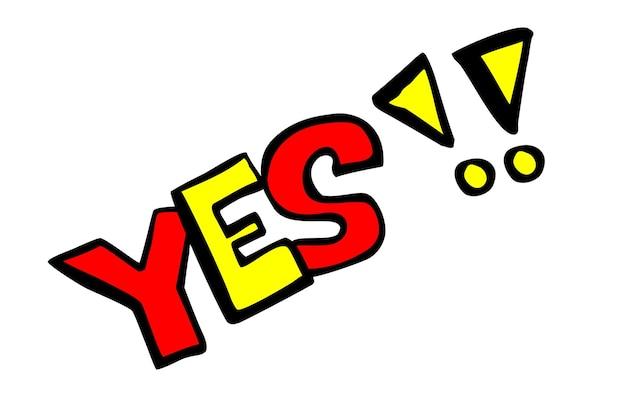 Vector hand draw sketch sim com sinal de exclamação, vermelho e amarelo isolado no branco