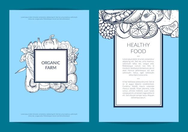 Vector handdrawn frutas e legumes vegan, modelo de panfleto de comida saudável