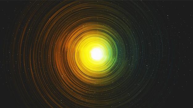 Vector hiperespaço realista espiral via láctea no fundo da galáxia, universo e design de conceito estrelado.