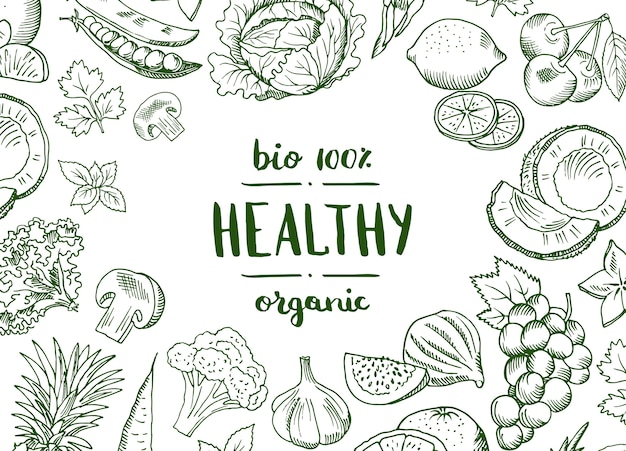 Vector horizontal doodle frutas handdrawn vegan, banner de comida saudável e cartaz com ilustração de legumes de fundo