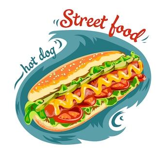Vector hot-dog ilustração