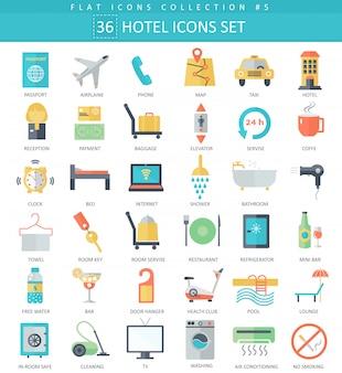 Vector hotel cor plana ícone definido. design de estilo elegante.