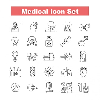 Vector icon set médica