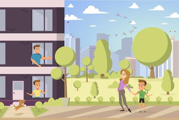 Vector illustration cartoon conceito de família feliz